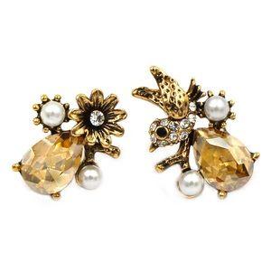 Elegant crystal bird flower gold earrings